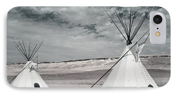 Infrared Image Of Native American Tipis Phone Case by Roberta Murray