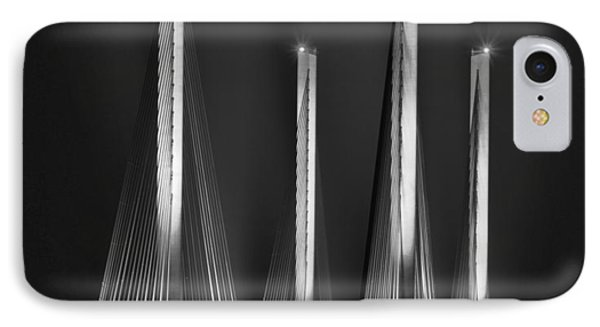 Inlet Bridge Light Trails In Black And White IPhone Case