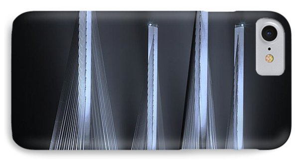 Inlet Bridge Light Trails In Cyan IPhone Case