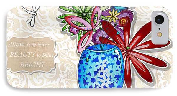 Inspirational Floral Dragonfly Painting Flower Vase With Quote By Megan Duncanson IPhone Case by Megan Duncanson