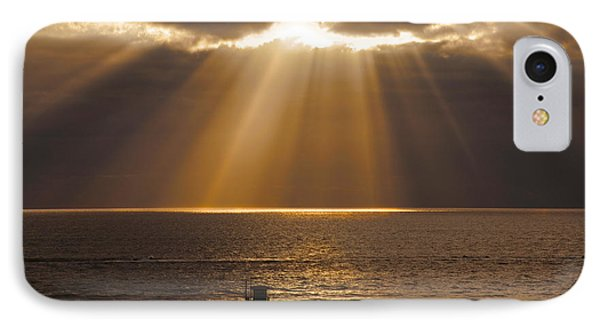 Inspirational Sun Rays Over Calm Ocean Clouds Bible Verse Photograph IPhone Case
