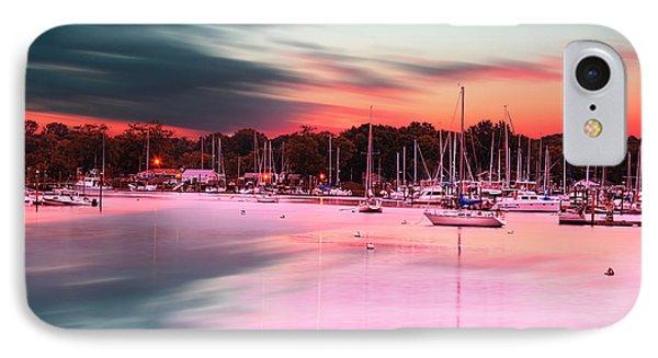 Inspiring View - Rhode Island At Dusk Warwick Neck Marina Harbor Sunset IPhone Case by Lourry Legarde