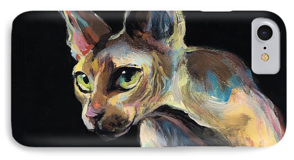 Intense Sphinx Sphynx Cat Art Painting IPhone Case