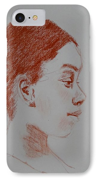 Intent Conte Sketch IPhone Case by Carol Berning