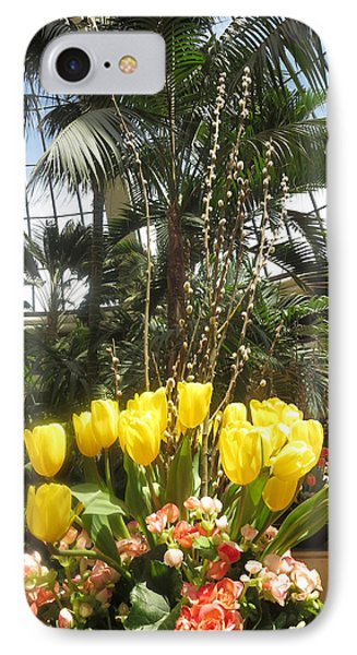 IPhone Case featuring the photograph Interior Decorations Butterfly Gardens Vegas Golden Yellow Tulip Flowers by Navin Joshi