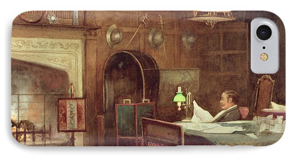 Interior Of A Panelled Hall IPhone Case by Alfred J. Warne Brown