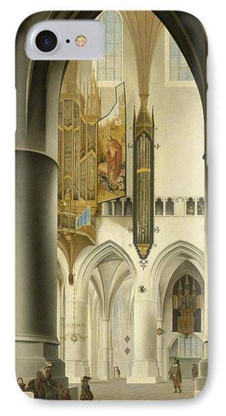 Interior Of The St. Bavo Church In Haarlem IPhone Case by Pieter Jansz Saenredam