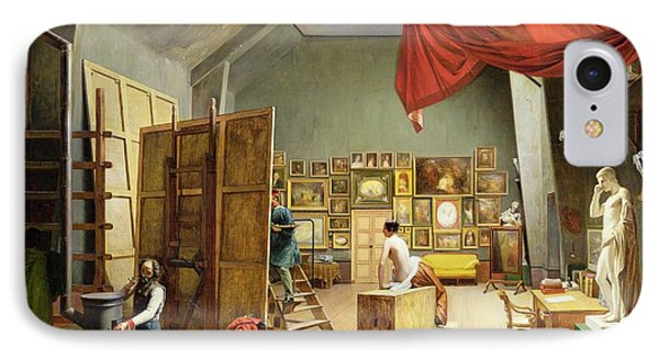 Interior Of The Studio Of Abel De Pujol 1787-1861 1836 Oil On Canvas IPhone Case by Adrienne-Marie Grandpierre-Deverzy