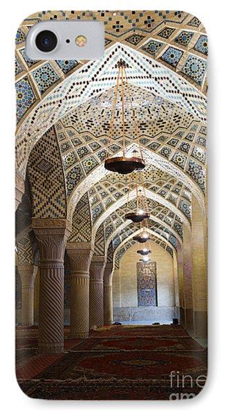 Interior Of The Winter Prayer Hall Of The Nazir Ul Mulk Mosque At Shiraz In Iran Phone Case by Robert Preston