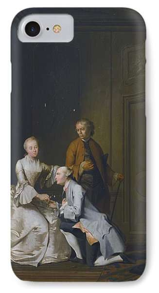Interior Scene With A Lady And Two Suitors IPhone Case by Celestial Images