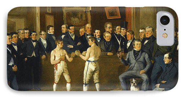 Interior Scene With Boxers And Gentlemen Onlookers IPhone Case by Celestial Images