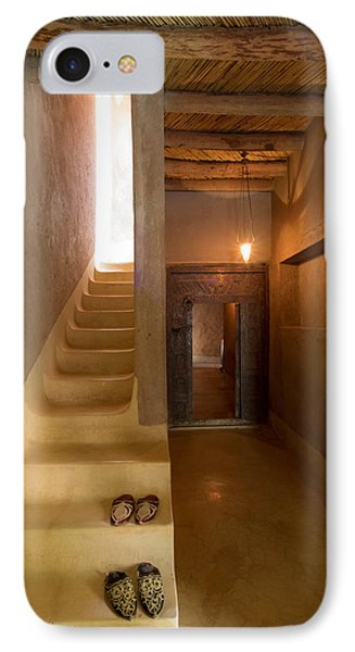 Interior Stairway With Slippers In Dar IPhone Case by Panoramic Images