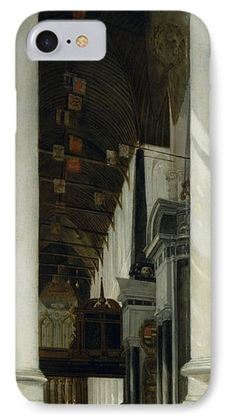 Interior View Of The New Church In Delft IPhone Case by Emanuel de Witte