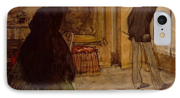 Interior With Two Figures IPhone Case by Edgar Degas