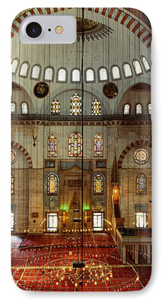 Interiors Of A Mosque, Suleymanie IPhone Case by Panoramic Images