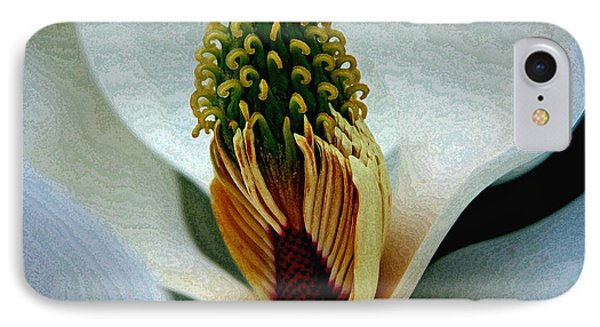 Into The Heart Of The Magnolia Drybrush IPhone Case by Andy Lawless