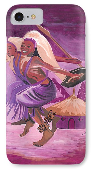IPhone Case featuring the painting Intore Dance From Rwanda by Emmanuel Baliyanga