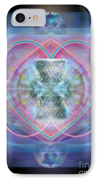 Intwined Hearts Chalice Wings Of Vortexes Radiant Deep Synthesis IPhone Case by Christopher Pringer