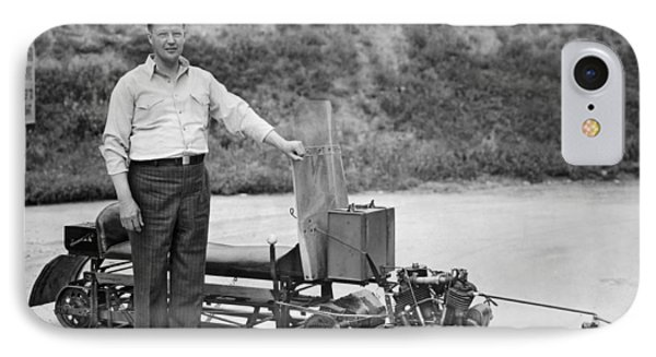 Inventor Of First Snowmobile IPhone Case by Underwood Archives