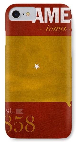 Iowa State University Cyclones Ames Iowa College Town State Map Poster Series No 050 IPhone Case