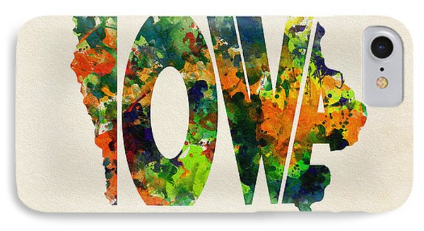 Iowa Typographic Watercolor Map IPhone Case by Ayse Deniz