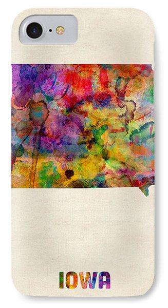 Iowa Watercolor Map IPhone Case