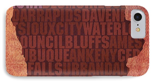 Iowa Word Art State Map On Canvas Phone Case by Design Turnpike