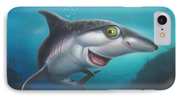 iPhone - Galaxy Case - friendly Shark Cartoony cartoon under sea  IPhone Case by Walt Curlee