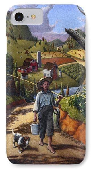 iPhone Case - Folk Art Farm - Boy and Dog Farm Landscape - americana IPhone Case by Walt Curlee