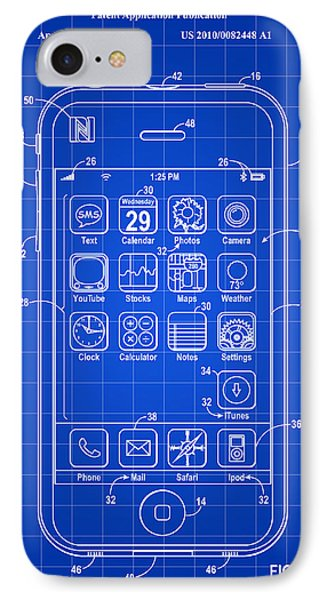iPhone Patent - Blue IPhone Case by Stephen Younts