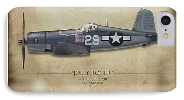 Ira Kepford F4u Corsair - Map Background IPhone Case by Craig Tinder