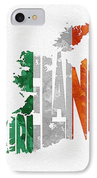 Ireland Typographic Map Flag IPhone Case by Ayse Deniz