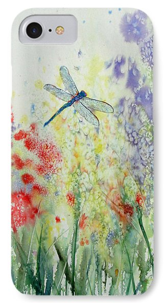 Iridescent Dragonfly Dances Among The Blooms IPhone Case by Susan Duda