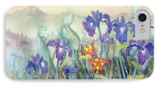 IPhone Case featuring the painting Iris And Columbine II by Teresa Ascone