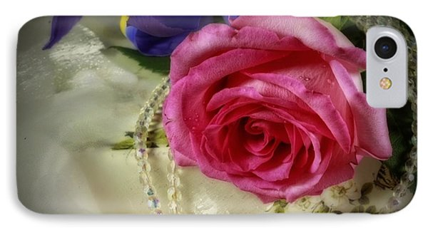 Iris And Rose On Vintage Treasure Box Phone Case by Inspired Nature Photography Fine Art Photography