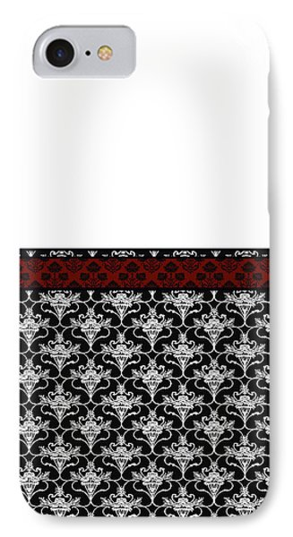 Iris Damask In Red Black And White IPhone Case by Jenny Armitage