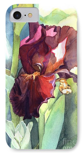 IPhone Case featuring the painting Iris In Red And Burgundy by Greta Corens