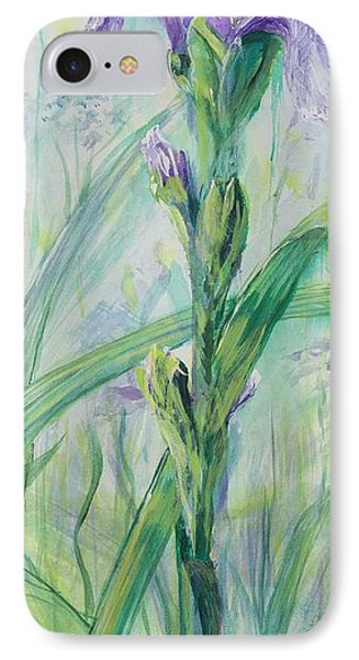 IPhone Case featuring the painting Iris Number Two by Cathy Long