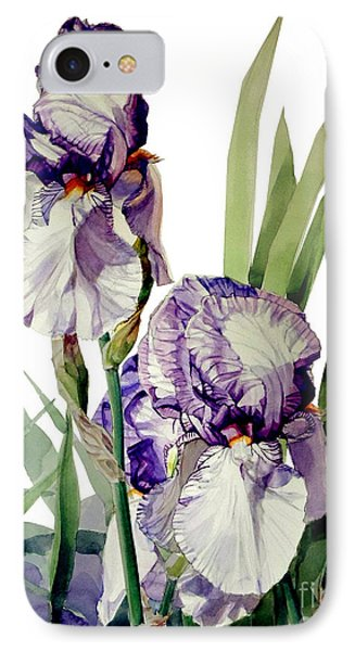 Blue-violet And White Picata Iris Selena Marie IPhone Case by Greta Corens
