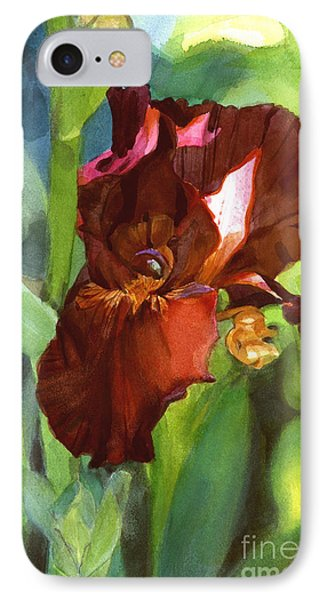 IPhone Case featuring the painting Iris Sienna Brown by Greta Corens
