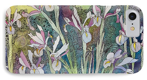 Irises And Doodles IPhone Case by Terry Holliday