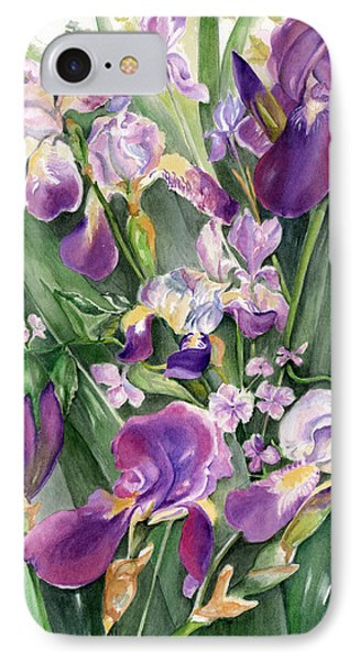 IPhone Case featuring the painting Irises In The Garden by Nadine Dennis