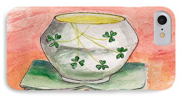 IPhone Case featuring the painting Irish Belleek And Linen by Julie Maas
