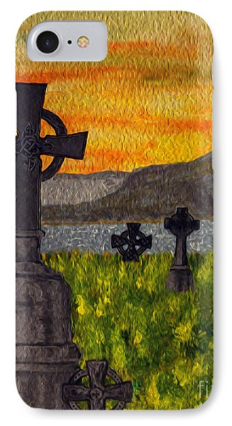 IPhone Case featuring the painting Irish Cemetery-painting by Megan Dirsa-DuBois