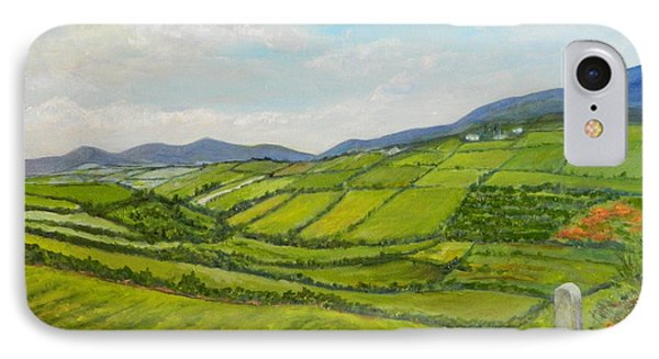 IPhone Case featuring the painting Irish Fields - Landscape by Sandra Nardone