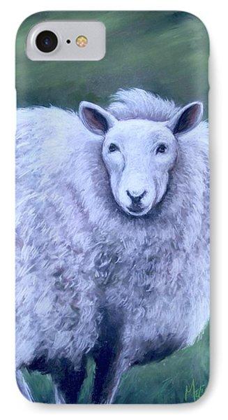 IPhone Case featuring the painting Irish Sheep Portrait by Melinda Saminski