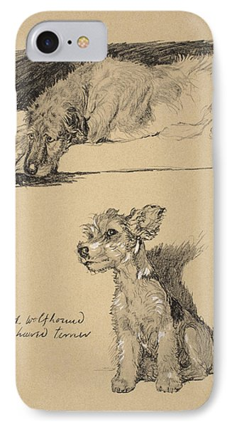 Irish Wolfhound And Wire Haired Terrier IPhone Case by Cecil Charles Windsor Aldin