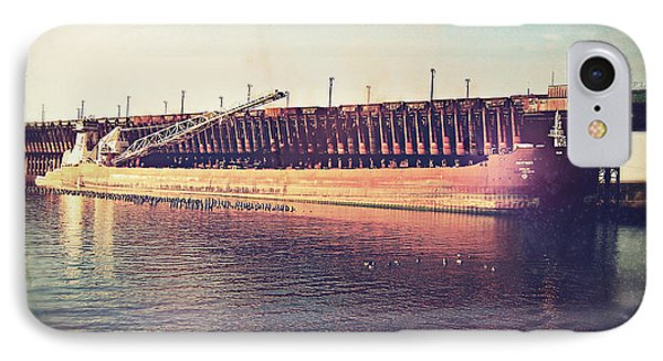 Iron Ore Freighter In Dock IPhone Case by Phil Perkins