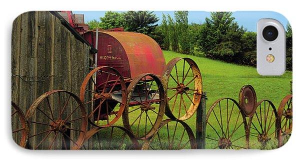 Iron Wheels, Dahmen Barn, Uniontown IPhone Case by Michel Hersen