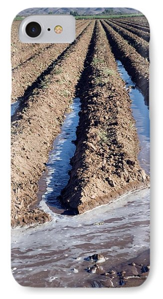 Irrigation Channels In A Field IPhone Case by Jim West